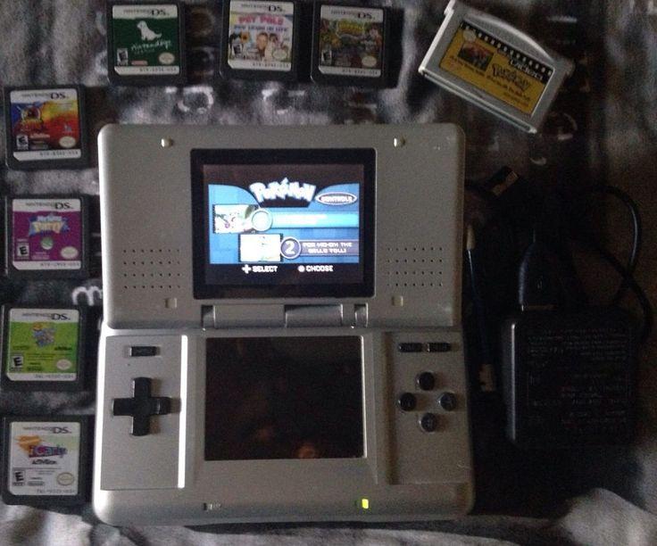 Nintendo DS Classic Silver NTR-001 Bundle GBA Video Pokemon & More  #Nintendo