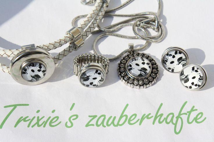 Armreife - Kette Armband Ring Ohrringe schwarz weiß Schmuck - ein Designerstück von trixies-zauberhafte-Welten bei DaWanda