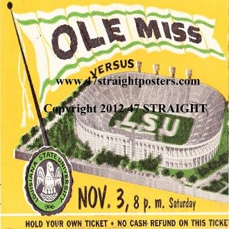 1956 Ole Miss vs. LSU Football Ticket Coasters.™   http://www.letuspin.com/ Best Pins on Pinterest!