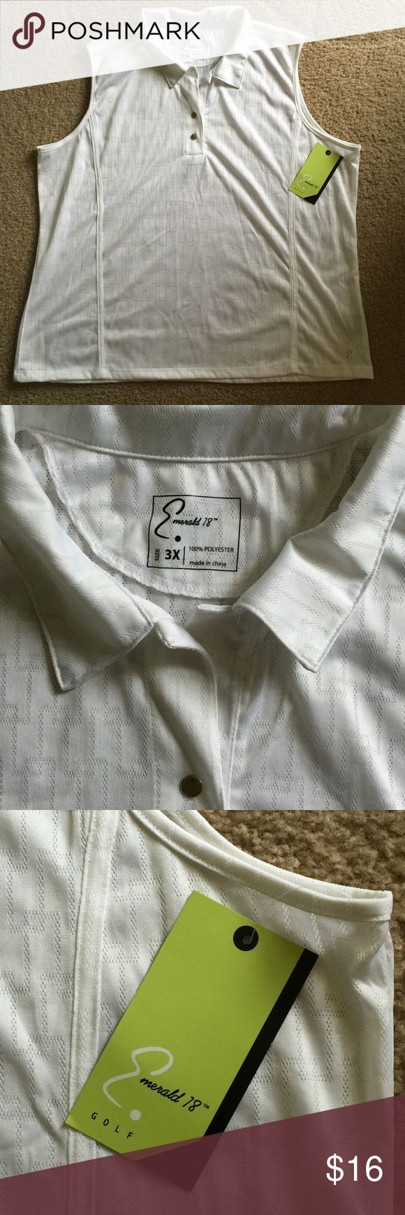 "NWT GOLF ATHLETIC SHIRT PLUS SIZE 3X, BRAND NEW This shirt is brand-new and in perfect condition with tags attached. It is 100% white polyester with stretch. Plus size 3X.  Measurements are; 25"" pit to pit and 28"" back neck to bottom. No additional discount unless bundling. Emerald 18 Tops"