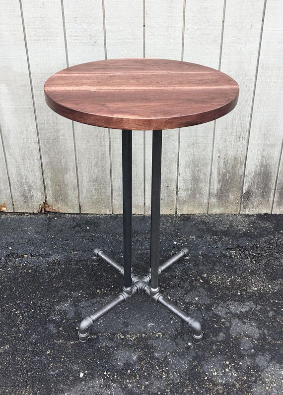 Round Table Reclaimed Wood Black Walnut Dining Table Bar Etsy In 2020 Bar Furniture Walnut Dining Table Pub Table