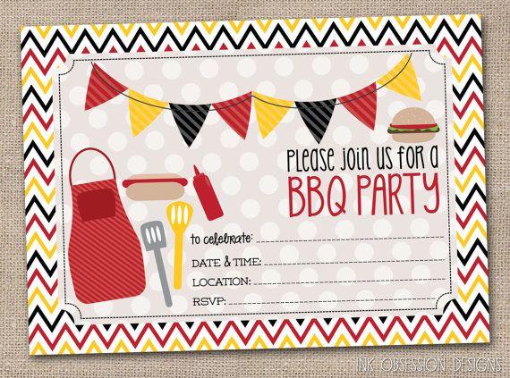 bbq party printable invitation fill in blank invite