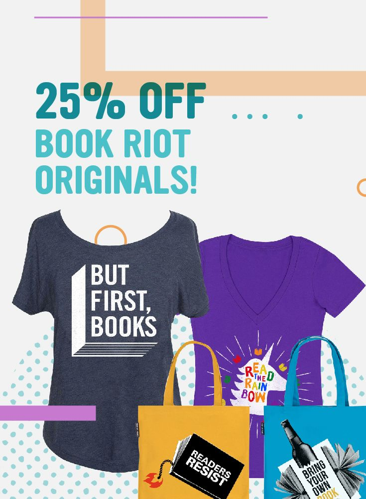 Score 25% off Book Riot original totes and tees in the Book Riot Store.