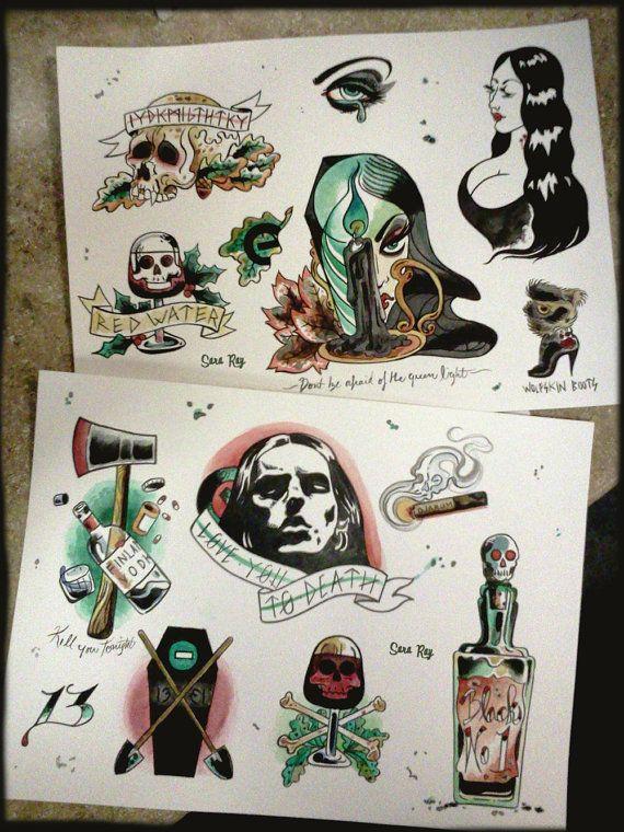 Type O Negative halloween tattoo flash limited to 20 by sararayart