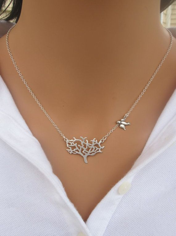 LUCKY SALE Tree and Sparrow Bird Necklace in by RoyalGoldGifts
