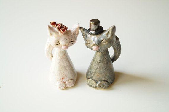 Cat Cake Topper Cat Couple Wedding Cake Topper by HerMoments