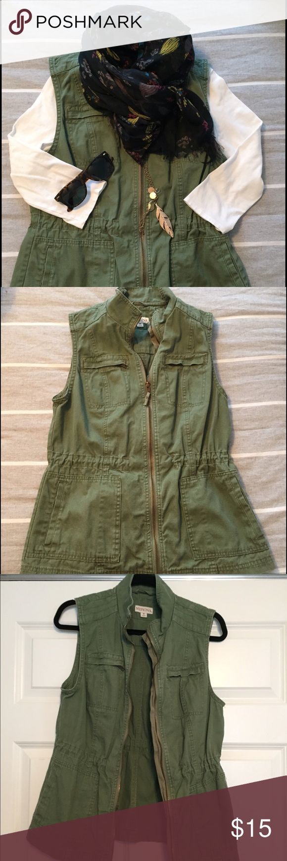 Olive Green Merona Vest Like new olive green merona khaki vest. Only worn 2's. Comes from a smoke/pet free home. Purchase at Target last year. Draw string waist. Merona Jackets & Coats Vests