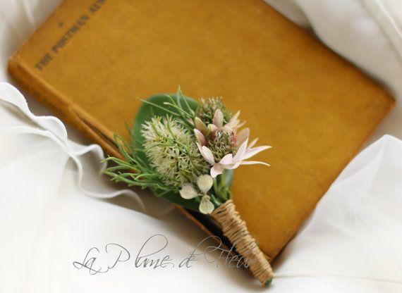 Burke&Wills - Men's Buttonhole/Boutonniere - Australian native flower buttonhole. Mini banksia, astrantia and mini gumnuts,