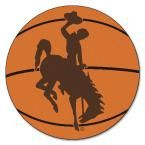 Ncaa University of Wyoming Cowboy Logo Orange 2 ft. 3 in. x 2 ft. 3 in. Round Accent Rug