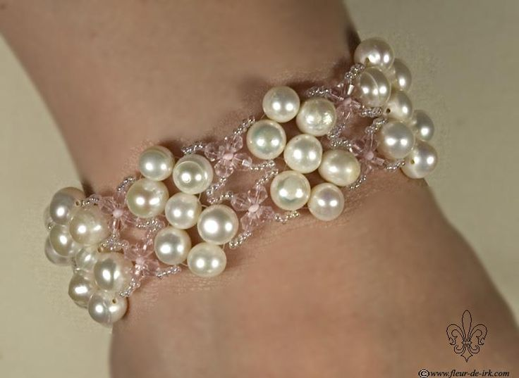 Pearl and crystal braceletB294 by Fleur-de-Irk.deviantart.com on @deviantART