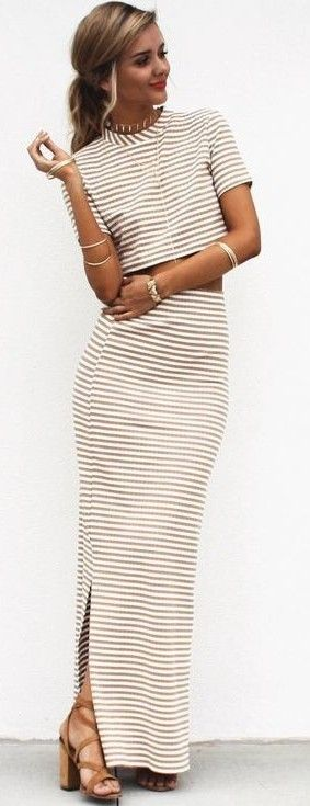 Stripe Maxi Skirt + Crop Top Set                                                                             Source