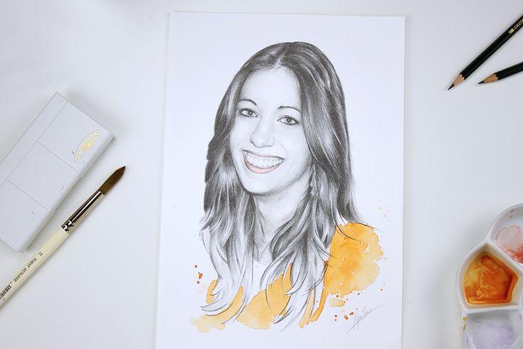 Retrato femenino a lápiz y acuarela por Almu Ruiz. Pencil drawing and watercolor portrait