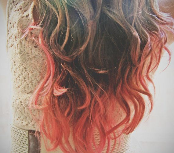 C O R A L I N A coral pink colored human hair extension/ clip-in hair/ dip dye ombre (2) hair extensions via Etsy