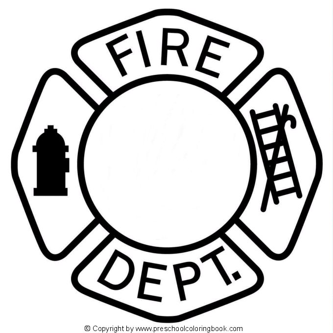 Fire Safety Badges Coloring Pages Sketch Page