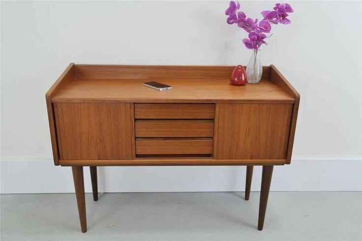 Danish modern teak small credenza entry chest side table juhl wegner eames era ebay mid - Selig z chair reproduction ...