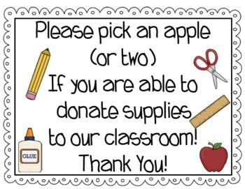 Place these wish list apples out at Open House to allow your parents the chance to donate supplies to your classroom!  This file includes the sign, apples made with items to donate, and editable apples to add your own wish list items to.  It also includes directions on how to make your own Wish List Apple Tree!Some of the images found in this file are from Scrappin Doodles.