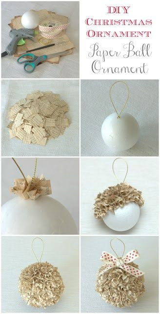 DIY Christmas Ornament - Paper Ball by Max and Me. Age your own pages or use vintage book pages