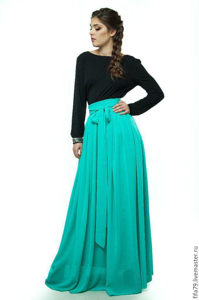 Купить Мятная Шифоновая Супер Длинная Юбка. - мятный, однотонный, шифоновая юбка, нарядная юбка