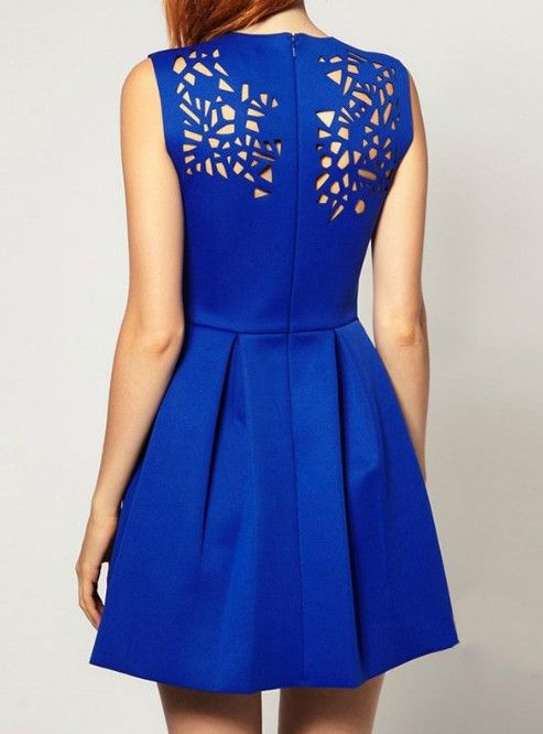 Blue Sleeveless Asymmetrical Hollow Pleated Dress - the front is just as cute as the back.