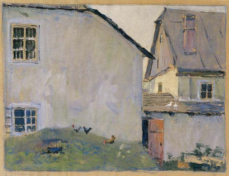 Egon Schiele (1890 — 1918, Austria) Farmhouses. 1907 translucent watercolor and opaque white on natural paper. 24 x 30.6 cm. Private collection