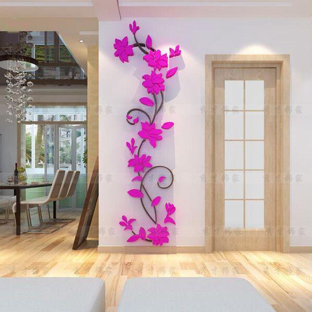 Aparador Tampo De Vidro Branco ~ PVC moda vaso de Flor Home Espelho Art DIY Adesivo de