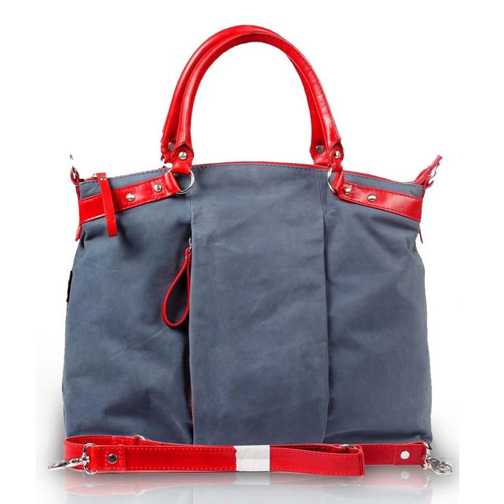 Buy online #blue red ladies leather shopping #bag online for sale for Rs.4000/- at voganow.com