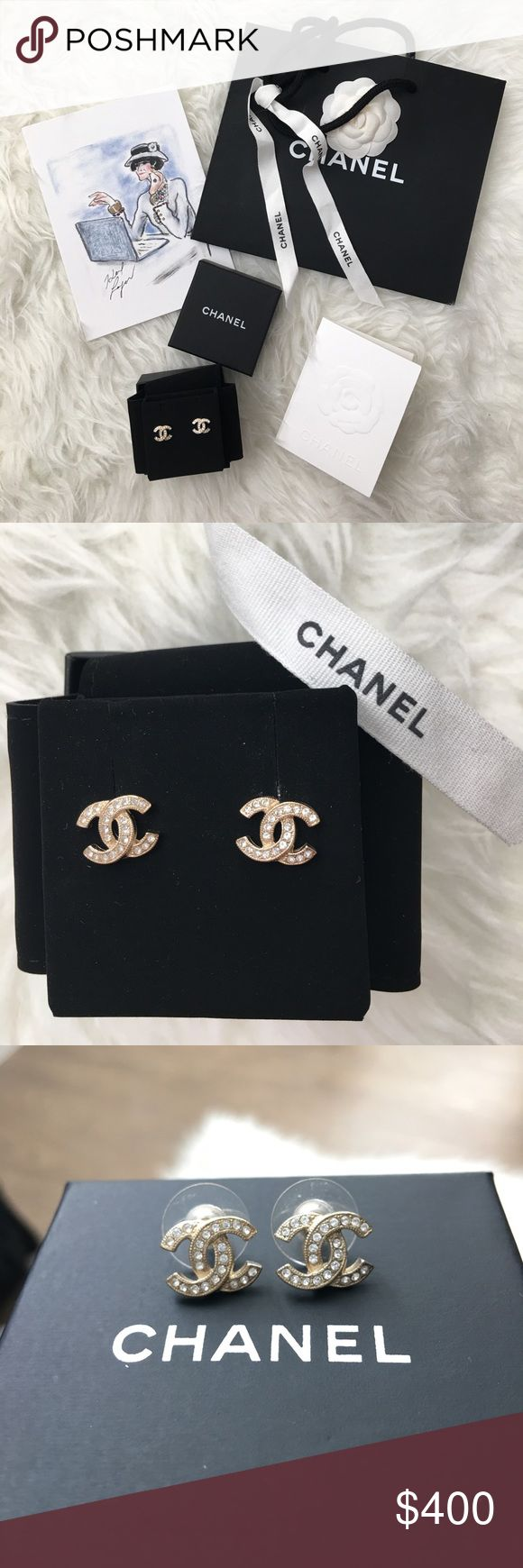 Chanel GHW earrings - 100% authentic 100% authentic Chanel earring studs - light gold hardware, micro pave crystals. EXCELLENT used condition- worn twice. Comes with box and bag. Made in France. No trades. CHANEL Jewelry Earrings