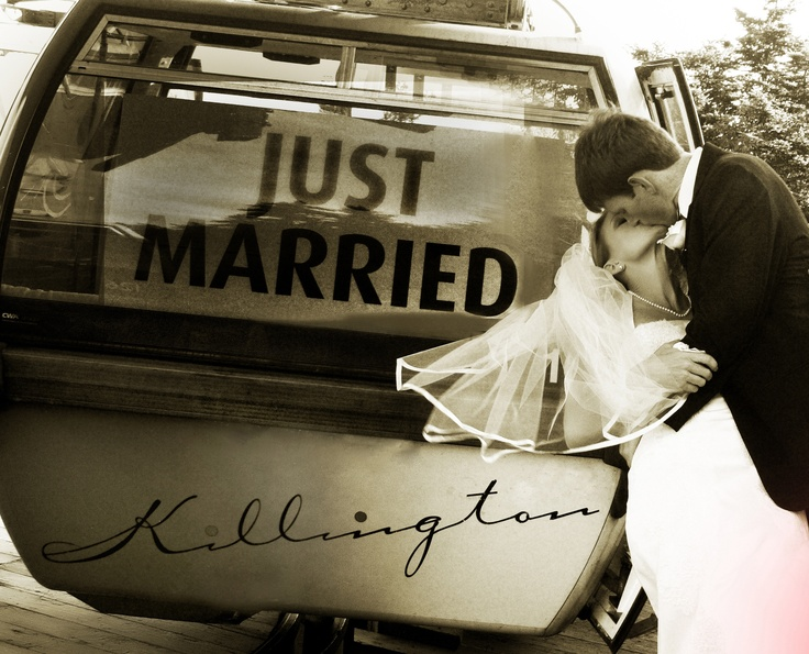 'Just Married' Gondola Ride at Killington Resort
