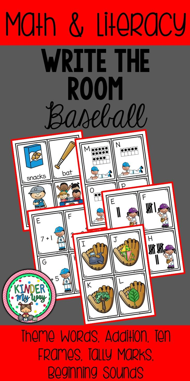 Write the Room - Baseball: This set includes 5 different Write the Room activities with recording sheets all centered around a baseball theme. Choose a set, print the cards and hang them in the classroom. Print the recording sheet and have the students search for the cards and record their answers. Write the Room Sets Included: ♦ Theme Words ♦ Addition to 10 ♦ Ten Frames ♦ Tally Marks ♦ Beginning Sounds ♦ Recording Sheet for each set