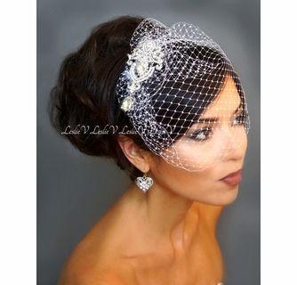 Katarina Crystal Bridal Brooch & Petite Birdcage Veil 23-30843