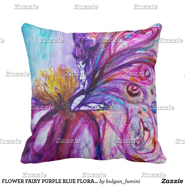 FLOWER FAIRY PURPLE BLUE FLORAL Boy Baby Status Throw Pillow #flowers #birth #newbaby #babystatus #decor #fantasy