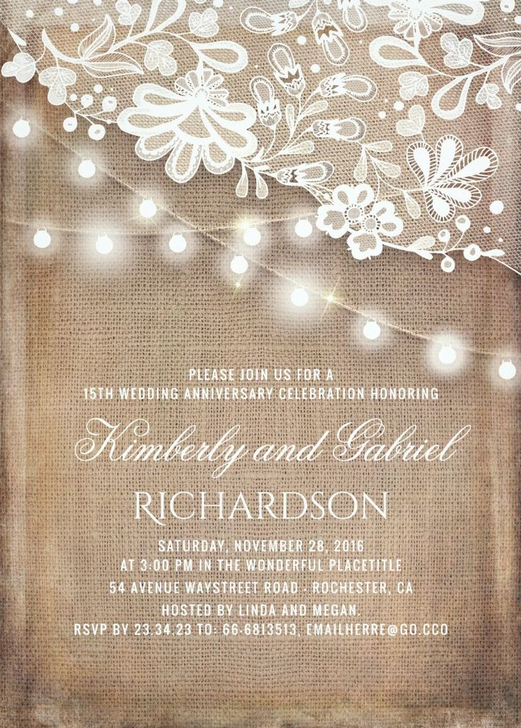 Rustic Burlap and Lights Lace Wedding Anniversary Invitations. Old vintage lace, fabulous string lights, and rustic burlap wedding anniversary invitations. Beautiful invitation templates for 60th, 50th, 40th, 30th, 25th, 10 year or any other anniversary parties. Golden, silver, diamond etc. #anniversaryinvitations