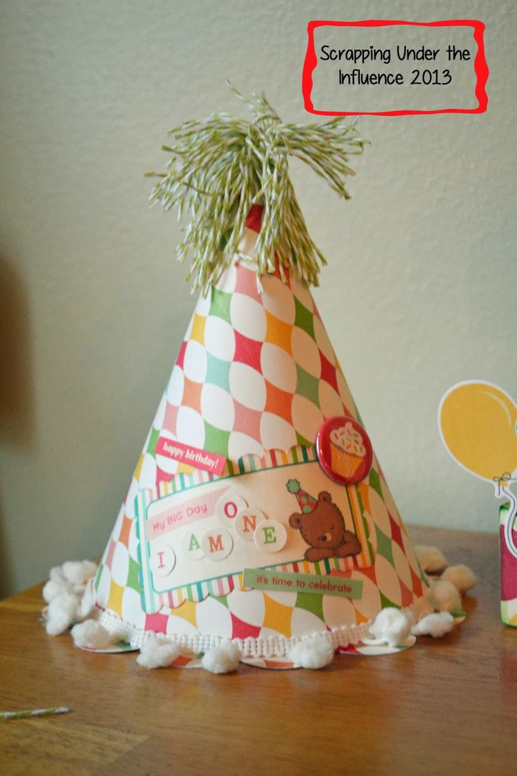 HAPPY BIRTHDAY TO YOU SVG KIT has this wonderful Birthday Hat which is so easy to put together and look at the fun stuff Jennifer added to hers!  Think of all the paper you have, make them for all occasions, or a bunch for a party!  As easy as they are, they won't take much of your time, but they will look awesome!  The twine on top is super cute, Jennifer!