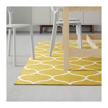 IKEAの【ラグ】を徹底解説!機能的で種類も豊富で選び放題♡-カウモ STOCKHOLM ラグ 平織り 網目模様 手織り イエロー ¥ 29,990(税込み)