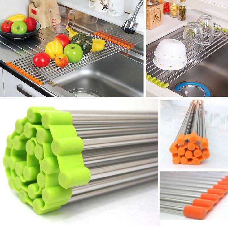 Sink Rack Roll Stainless Steel Shelf Portable Folding Green Orange Kitchen Productskitchen