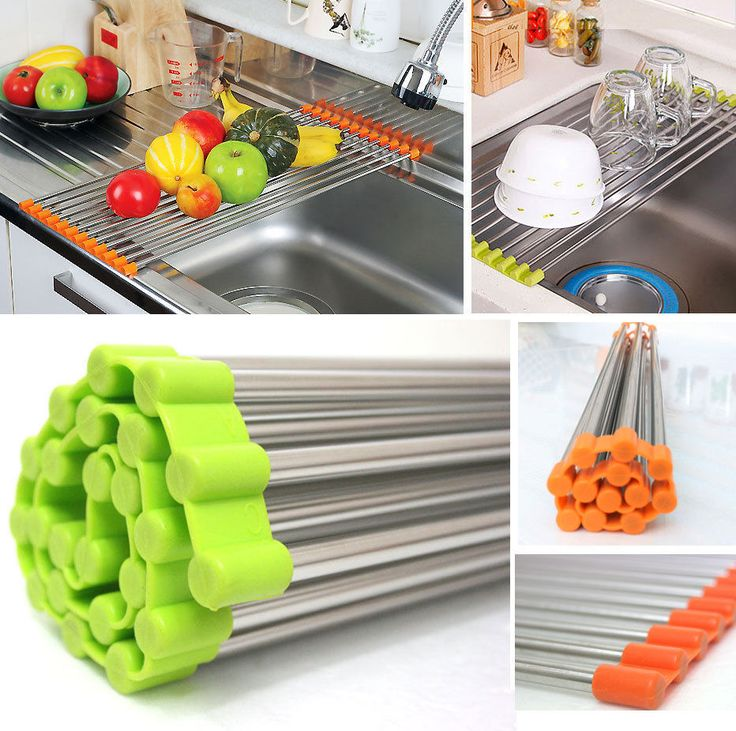 SEAPED STAINLESS STEEL ROLL-UP DISH DRYING RACK SINK RACK MULTIFUNCTIONAL SHELF PORTABLE DRAIN SHELF STORAGE DRYING RACK,GREEN