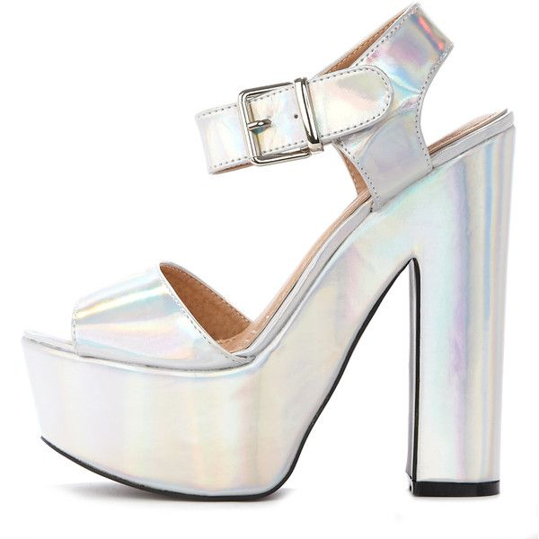Madison Holographic Platform Sandal ($16) ❤ liked on Polyvore featuring shoes, sandals, heels, grey, silver heeled shoes, heeled sandals, gray sandals, silver sandals and hologram shoes