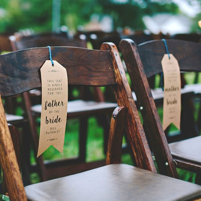 Using our free, editable download tags - easily customize and print your own wedding chair reserved signs to make sure Grandma gets the right seat!