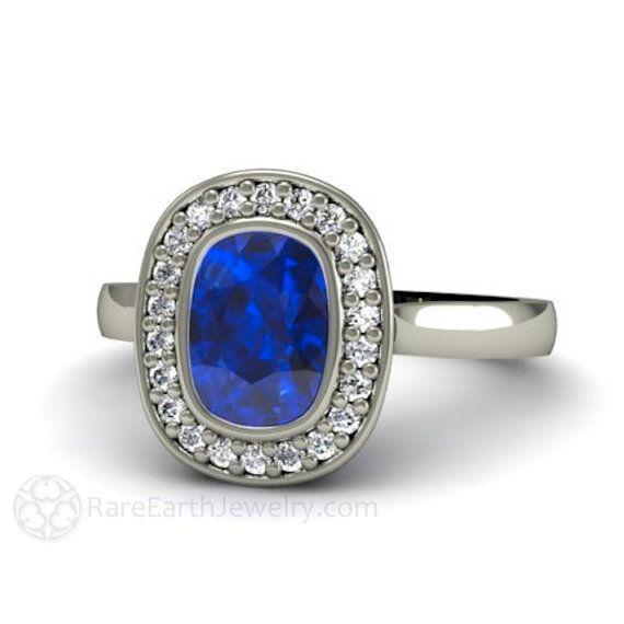 Anillo de compromiso azul zafiro anillo zafiro bisel por RareEarth