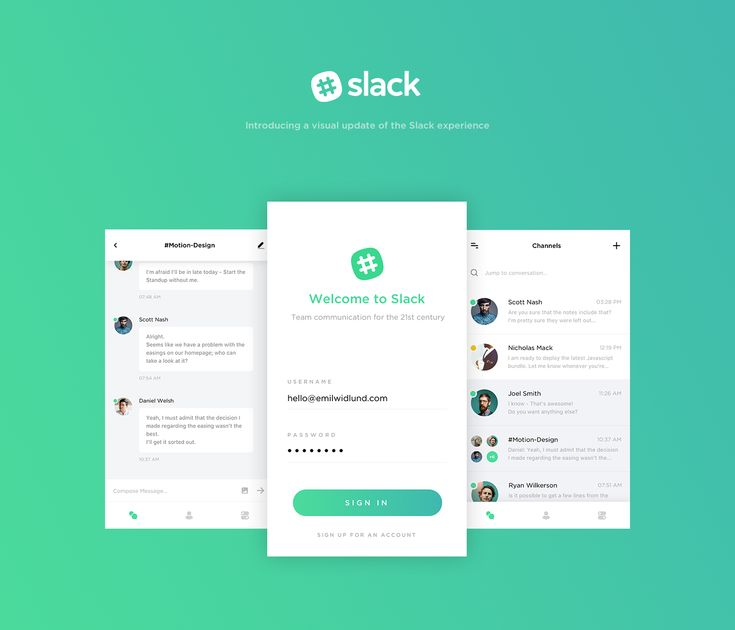 Slack - A visual update on Behance