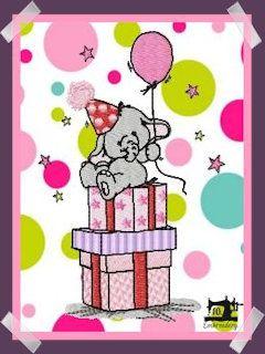 10EMBROIDERY Patroon Verjaardag Olifant Op Cadeautjes (40K)