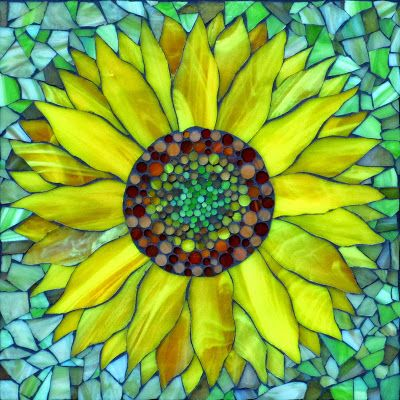 Sunflower, stained glass mosaic ~  Visit Kasia Mosaics on facebook to see lots more stained glass mosaics: https://www.facebook.com/KasiaMosaics