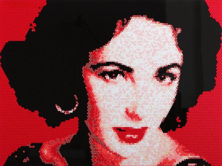 re. Elizabeth Taylor (Riz Taylor), 76.2X101.6(cm), stickers, acrylic board, 2016. by Choi zan. www.choizan.com  #choizan #art #artwork #elizabethtaylor #stickers #contemporaryart #artist #eyes #arte #koreanartist #asianartist #asia #asiaart #contemporary #fineart #galleries #asiancontemporaryart #artnews #artinfo #gallery