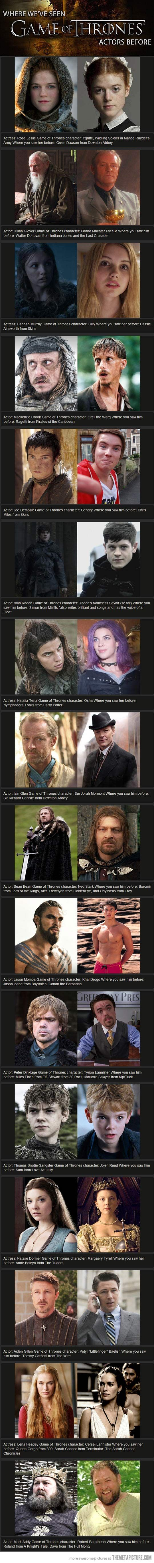 Game of Thrones characters: Where Have We Seen You Before? || Follow here http://pinterest.com/cakespinyoface/geek-of-thrones-a-storm-of-boards/ for even more Game of Thrones Geekery-- original art, mashups and more!