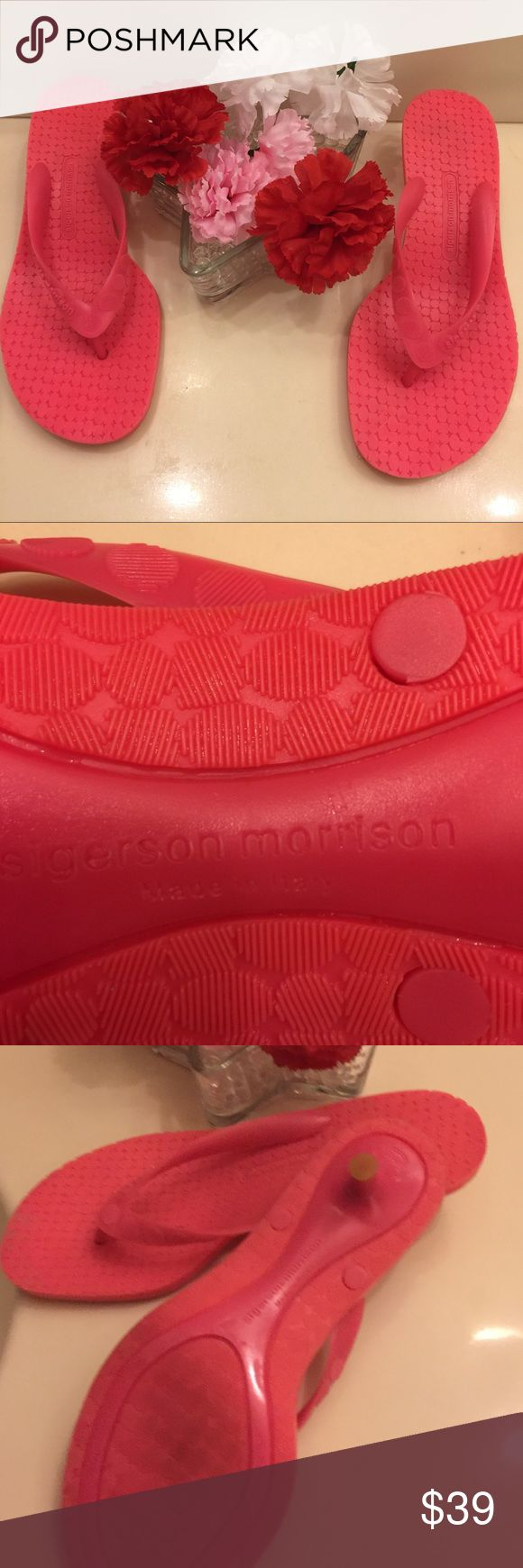 """Sigerson Morrision Kitten heels Flip Flop SIGERSON MORRISON Neon-Fuchsia Jelly Rubber Kitten Heel Thong Flip Flops Sandals, almost new. It was worn one time only.   Size: 5  Description & Details: Neon Fuchsia-Pink Jelly Rubber  Solid Straps  Slip-on Thongs Metal-Reinforced Kitten Heels Made in Italy Measurements:  Size: 7 Heel: 1.5"""" Condition: Minimal signs of wear at the soles and heels. Excellent preowned condition. Sigerson Morrison Shoes Slippers"""