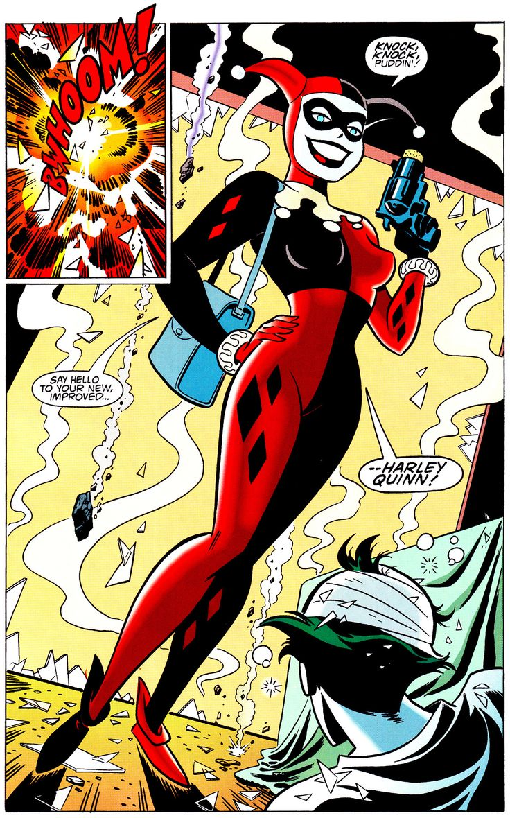 Harley Springs Joker From Arkham, Batman Adventures: Mad Love (Feb. 1994) Art by Bruce Timm & Glenn Murakami Words by Paul Dini