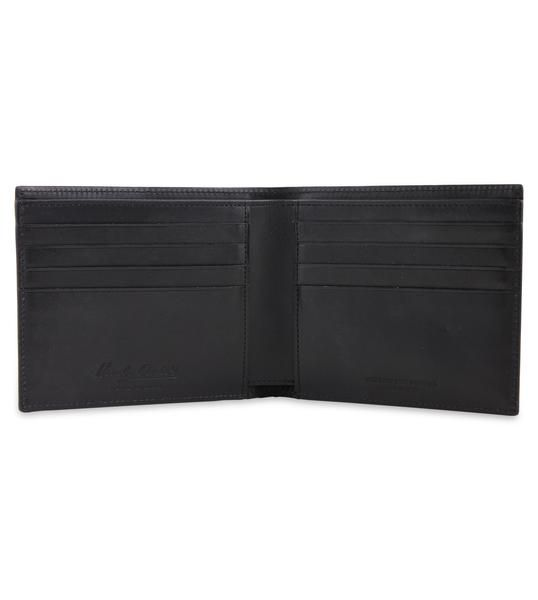 Hardy Amies embossed monogram leather wallet in black. Italian leather & made in Italy.  #Dapper #Gentleman #Men #Menswear #BritishTailoring #Suit #SlimFit #Shirt #Tailored #Vintage #Class #Streetstyle #Classic #Classy #HardyAmies #LondonStyle #ModernMan