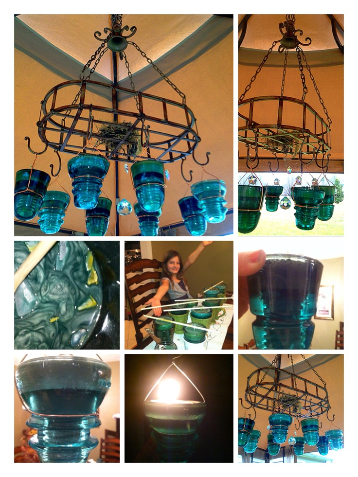 This Is An Outdoor Chandelier Made Using A Pot Rack And Homemade Citronella Candles The