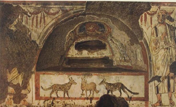 Catacombe di Pretestato, Roma. Gli affreschi del III secolo.