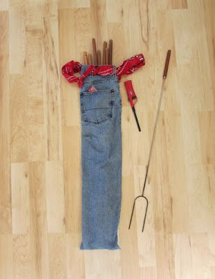 Upcycle! Camping Bag for Roasting Sticks made from Denim Jeans. Great gift idea!